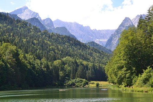 Lake, Mountains, Allgäu, Bavaria, Garmisch, Forest
