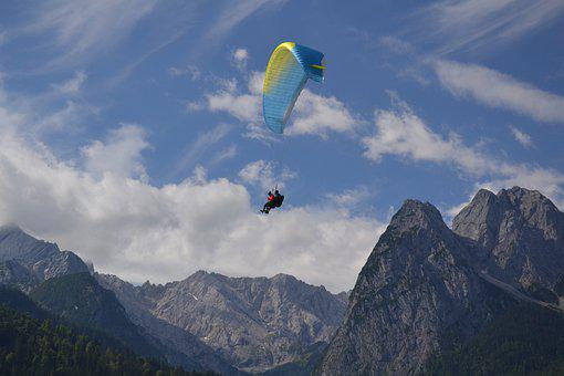 Paragliding, Parachute, Mountains, Paraglider, Flying