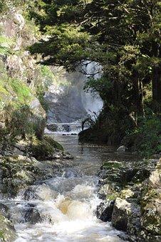 Waterfall, Cascade, River, Stream, Creek, Rocks, Trees