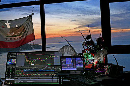 Stock, Trading, Station, California, Flag, Sunrise