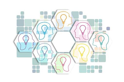 Team, Light Bulb, Ideas, Heads, Hexagons, Concept