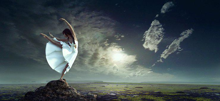 Night, To Dance, Girl, Heaven, Landscape, Mystical