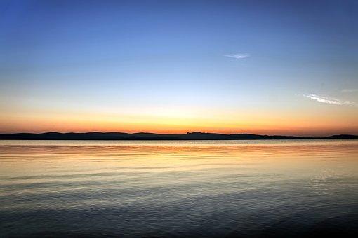 Sunrise, Morning, Lake, Silhouette, Shira, Nature