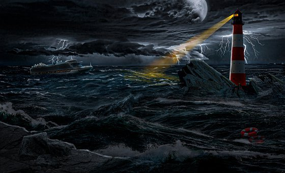 Lighthouse, Tower, Beacon, Boat, Rocks, Moon, Storm