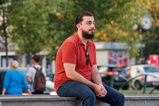 Man, Young, Person, Bearded, Looking, Care, Urban, City