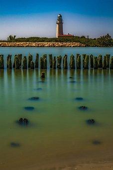 Sea, Lighthouse, Island, Wooden Breakwater, Coast