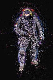 Soldier, Fighter, War, Battle, Man, Male, Uniform, Suit