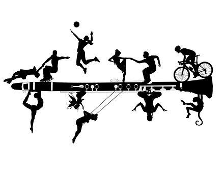 Monkey, Woman, Clarinet, Silhouette, People, Bike