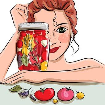 Woman, Tomatoes, Food, Portrait, Pickled, Digital