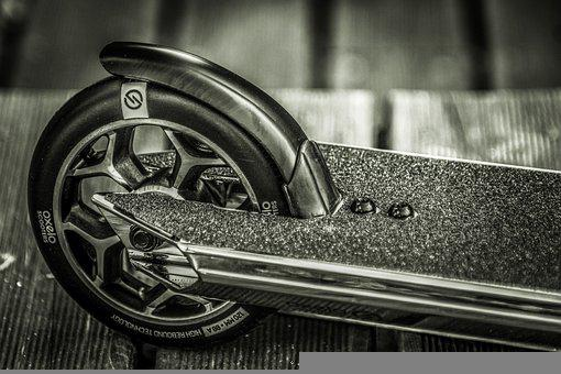 Wheel, Scooter, Black And White, Metal, Steel, Details