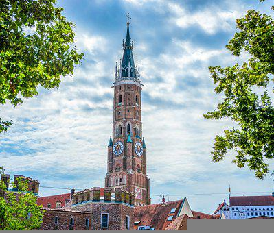 Bavaria, Architecture, Tower, Landshut, Germany