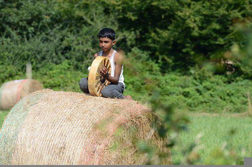 Boy, Drum, Hay Bale, Indian, Child, Kid, Young