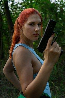 Cosplay, Lara Croft, Gun, Tomb Raider, Character, Girl