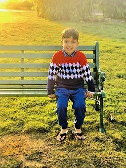 Boy, Park, Bench, Sitting, Leisure, Morning, Sunrise