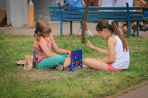 Girls, Playing, Connect Four, Game, Park, Outdoors