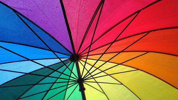 Umbrella, Rainbow, Raindrops, Multicolored, Colorful