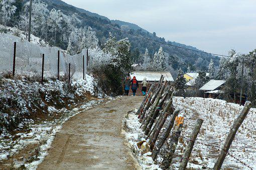 Snow, Path, Village, Winter, Countryside, Trail, Road