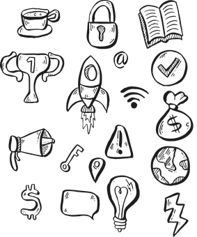 Internet, Technology, Icon, Drawing, Book, Lock, Cup