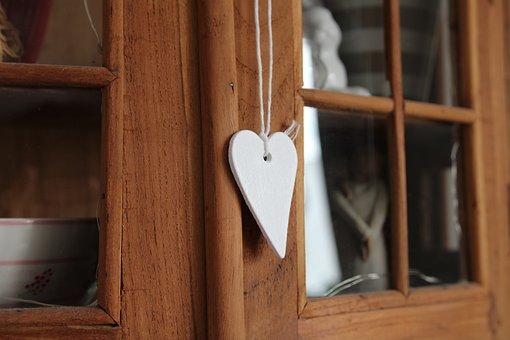 Heart, Wood, Decoration, Vintage, Wooden Cabinet