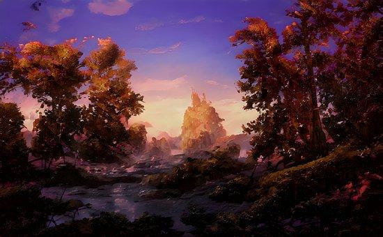 Forest, Sunset, Nature, Trees, Landscape, Woods, Fog