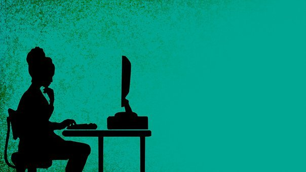 Woman, Computer, Desk, Work Station, Silhouette
