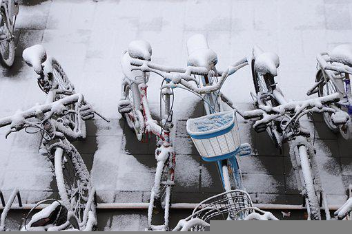 Snow, Bicycle, Bicycle Rack, Bike, Frost, Ice, Winter