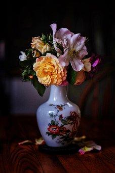 Bouquet, Flowers, Vase, Rose, Petals, Bloom, Plant