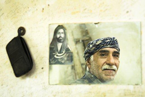 Man, Mirror, Iran, Qom, Old Man, Senior, Reflection