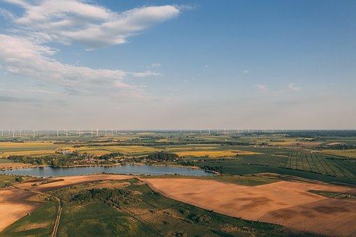 Field, Wind Farm, Power Generation, Renewable, Aerial