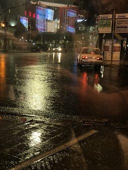 Rain, Road, Night, Raining, Street, City, Outdoors