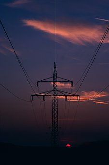 Sunset, Transmission Tower, Cables, Silhouette, Sun