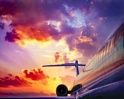 Aircraft, Sunset, Sky, Sunlight, Clouds, Atmosphere