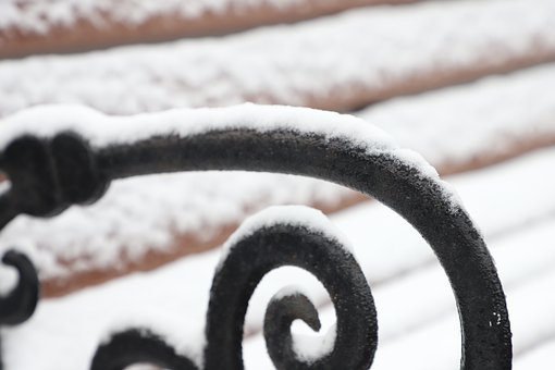 Snow, Bench, Arm Rest, Ice, Frost, Winter, Metal