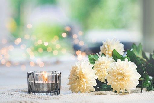 Flowers, Candle, Bokeh, Chrysanthemum, Candlelight