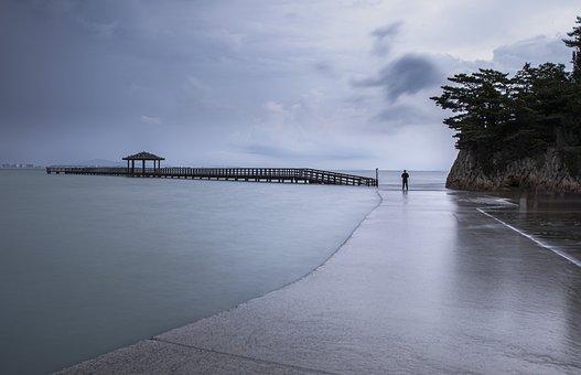 Beach, Pier, Sea, Coast, Ocean, Water, Nature