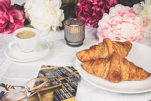 Croissants, Coffee, Breakfast, Candle, Food, Bread