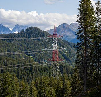 Transmission Tower, Electricity, Forest, Mountains