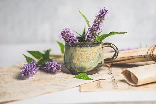Flowers, Cup, Vintage, Purple Flowers