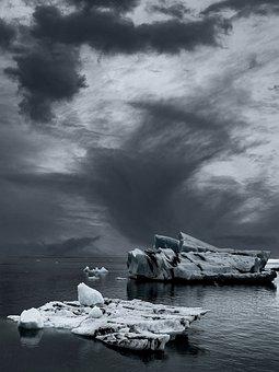 Iceberg, Ocean, Black And White, Winter, Frozen, Ice