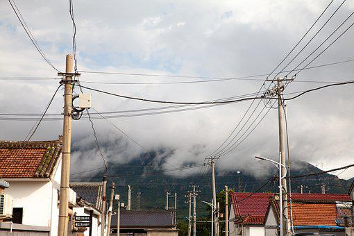 Village, Mountain, Clouds, Houses, Rural Area