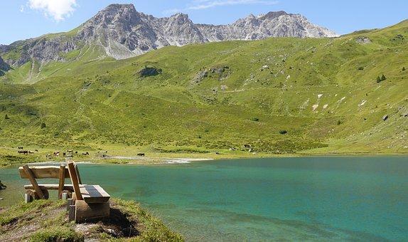 Lake, Riverbank, Mountains, Grisons, Switzerland