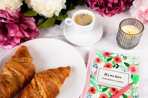 Croissants, Coffee, Notebook, Pen, Journal, Planner