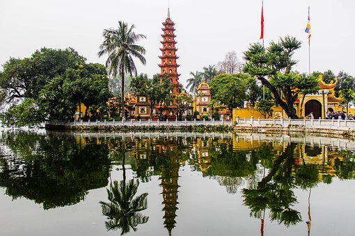 Pagoda, Temple, West Lake, Vietnam, Township, Lake