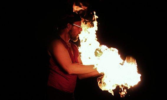 Fire, Fire Show, Man, Artist, Juggle, Balance