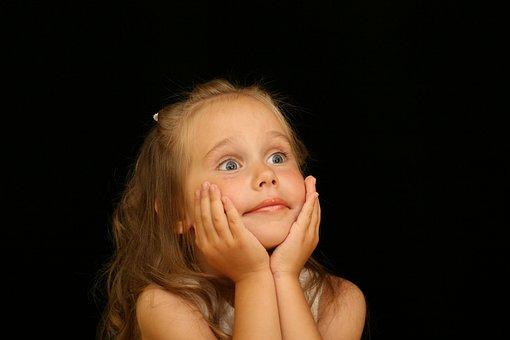 Girl, Child, Astonished, Surprised, Joy, Portrait