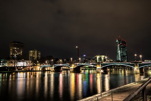 Frankfurt Am Main Germany, At Night, Skyline, River