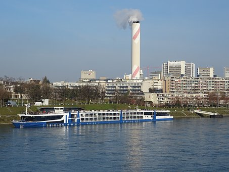 City, Rhine, Basel, Bank, Panorama, Ship, Cruise Ship