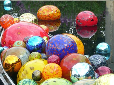 Chihuly, Glass, Globes, Colorful, Brilliant, Water