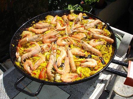 Cuisine, Espagnol, Paella, Plat Typique, Fruits De Mer
