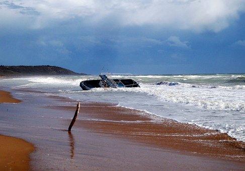 Ship, Beach, Sea, Forward, Wave, Shipwreck, Death